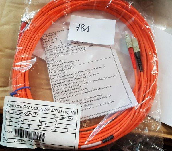 LWL Duplex Jumper O6353 ST/SC 5/125u ECOFIBER OM2 LSOH Cable Länge 10m