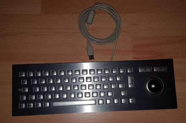 Edelstahl Kiosk Keyboard mit Trackball der Firma Devlin mit USB Anschluss